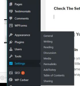 Checking WP Settings