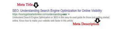 meta title and meta description