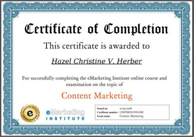 Content Marketing Certification - Hazel Christine V. Herber