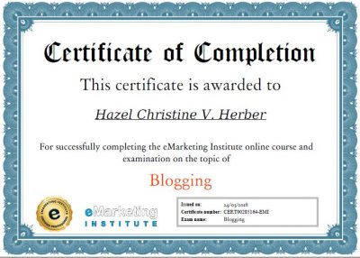 Blogging Certification - Hazel Christine V. Herber