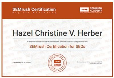 SEMrush Certification - SEO Professional Hazel Christine V. Herber