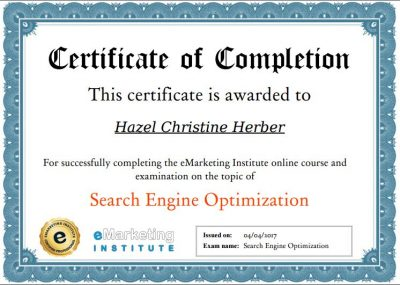 SEO Certification - Hazel Christine V. Herber