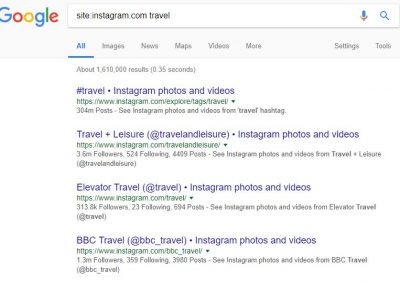 Google Instagram account search according to topic