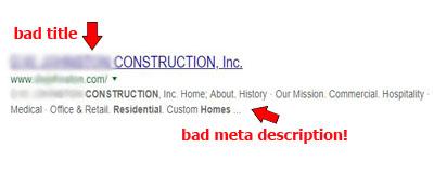 bad meta title and meta description for SEO