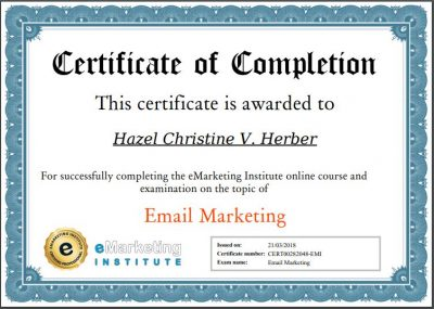 Email Marketing Certification - Hazel Christine V. Herber