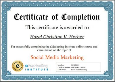 Social Media Marketing Certification - Hazel Christine V. Herber
